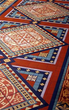 The floor mosaics and tiles are from Maw and Co.'s Jackfield works in England. Mosaic Glass, Mosaic Tiles, Cement Tiles, Floor Design, Tile Design, Hall Tiles, Architecture Religieuse, Architecture Unique, Victorian Tiles