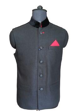 Grey Nehru Jacket with Velvet Collar