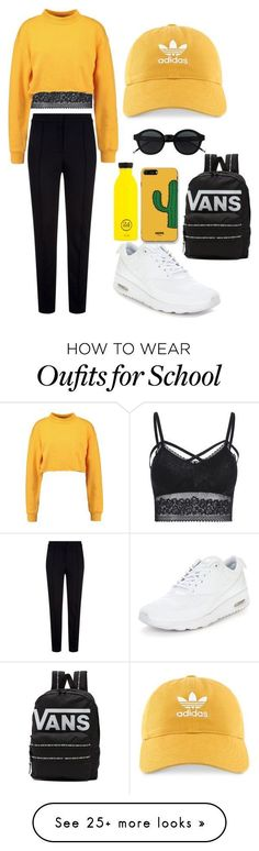 """SCHOOL OUTFIT "" by lamijamaglajkic on Polyvore featuring Escada Sport, adidas, NIKE, Vans and WithChic #schooloutfits #polyvoreoutfits"