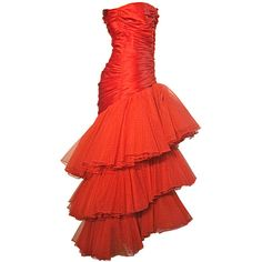 A Fabulous 80s Fire Engine Red Alfred Bosand Silk Flamenco Gown found on Polyvore...would be so fun to wear!