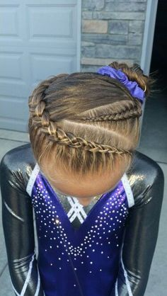 Cute hair for little girls during competitions or practice... Gymnastics, cheerleading, etc