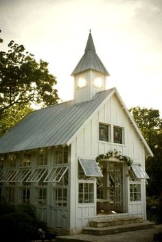 Little white church- I think with some skylights this would make an adorable greenhouse!