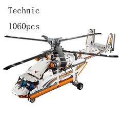 LEPIN 20002 Technic Series 1060pcs Double rotor transport helicopter Model Building blocks Bricks Compatible lego technic 42052