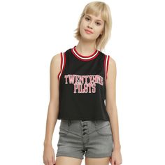 Hot Topic Twenty One Pilots Girls Jersey Tank Top ($23) ❤ liked on Polyvore featuring tops, jersey crop top, crop top, jersey top, cut-out crop tops and jersey tank