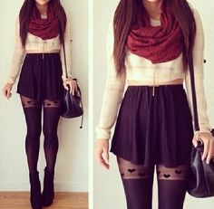 aww, black, cream, cute, gorgeous, hearts, infinity scarf, outfit, skater skirt, tights, wedges