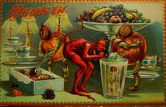Halloween devils get into the candy. See more vintage Halloween cards Victorian Halloween, Vintage Halloween Images, Halloween Photos, Halloween Outfits, Halloween Crafts, Halloween Decorations, Halloween Halloween, Vintage Holiday, Halloween Costumes