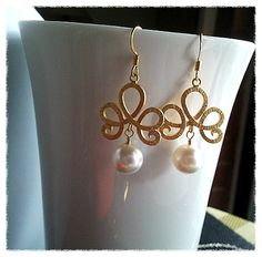 Flower with White Pearl Earrings  High Fashion by LaLaCrystal, $25.50