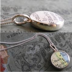 LOVE LOVE LOVE ! Double Sided Dainty Vintage Map Sterling Silver Necklace.  You Select two Journeys.