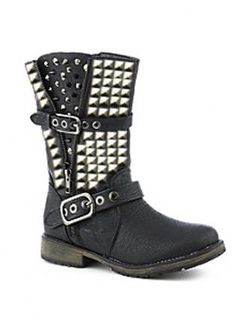 Silver Studded Black Biker Boots,  Shoes, black biker boots studded boots moto, Chic