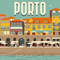 #FolioFeatured Inspired by his home town in #Portugal, Rui Ricardo captures a lively view along the promenade ☀️ Swipe for the full panorama! #travel #poster #illustration
