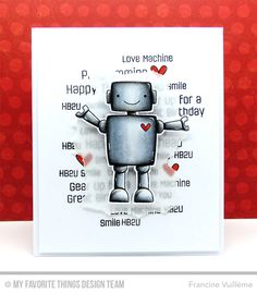 Handmade card from Francine Vuilleme featuring Miss Tiina's Bionic Bots.
