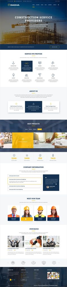 Dacha is clean and modern design #PSD template for #architecture and #construction company #website with 10 layered PSD files to live preview & download click on image or Visit