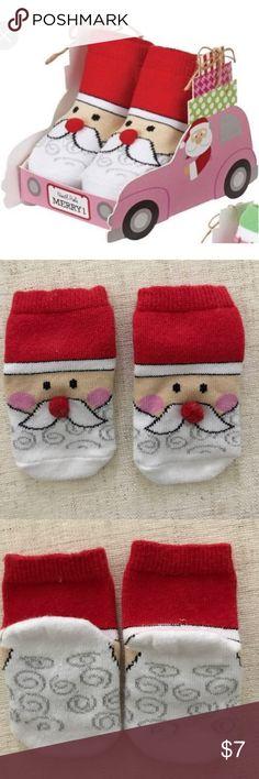 Santa Socks Festive cotton hosiery socks with dimensional pom-pom noses. Santa's Sleigh Box not included. 100% Cotton. Mud Pie Accessories Socks & Tights