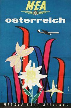 Vintage Middle East Airlines posters highlight golden age of air travel Vintage Ski, Vintage Travel Posters, Vintage Airline, Middle East Airlines, Ski Posters, Travel Ads, Vintage Advertisements, Retro Ads, Illustrations Posters