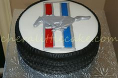 Mustang - This cake was for someone who in a millon years no one thought would buy a Mustang. So the family wanted something for his birthday to do with his big purchase. Mustang Cake, Red Mustang, 60th Birthday Party, Birthday Ideas, Gifts For Hubby, Cake Board, Cakes For Boys, Sweet Cakes, Anniversary Parties
