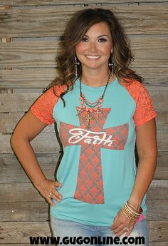 Faith on Damask Cross Short Sleeve Tee in Coral and Aqua www.gugonline.com $28.95