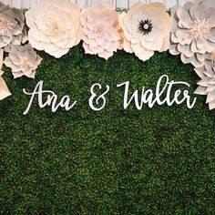 Love couple name signs with hedge walls! | www.ngocreations.com #backdrop #wedding #hedgewall #ideas #lasercut #name #sign #home #decor #gift #modern #calligraphy #wood #ngocreations