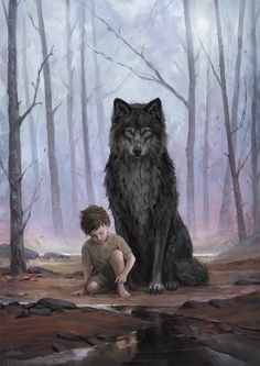 Leesha Hannigan Concept Art World Anime Wolf, Fantasy Wolf, Fantasy Art, Anime Fantasy, Dark Fantasy, Fantasy Creatures, Mythical Creatures, Wolf Artwork, Werewolf Art