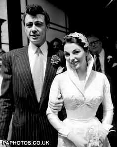 Maxwell Reed & Joan Collins wedding, 24 May Caxton Hall Register Office, London Celebrity Wedding Photos, Celebrity Couples, Celebrity Weddings, Wedding Movies, Wedding Pics, Wedding Couples, Joan Collins, Vintage Inspired Wedding Dresses, Vintage Bridal