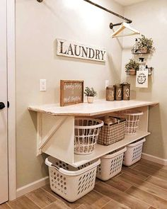 Laundry Room Remodel, Laundry Decor, Small Laundry Rooms, Laundry Room Design, Basement Laundry, Laundry Baskets, Laundry Room Drying Rack, Laundry Room Storage, Bedroom Storage