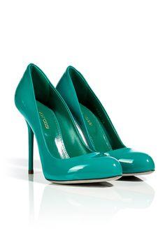 SERGIO ROSSI  Turquoise Patent Leather Stilettos