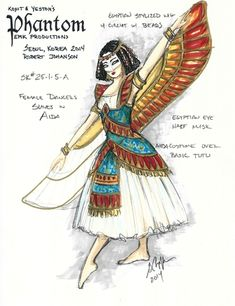 Gregory A. Poplyk Costume Design for musical Phantom - Costume sketch for the ballet ladies in Verdi's Aida Broadway Costumes, Theatre Costumes, Costume Design Sketch, Egyptian Fashion, Female Dancers, Sketchbook Inspiration, Dance Photos, Illustrations, Cosplay Outfits