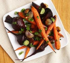 Roasted, Carrots, Beets, and Shallots from our newsletter -- with a quick olive relish that really makes these veggies taste special.