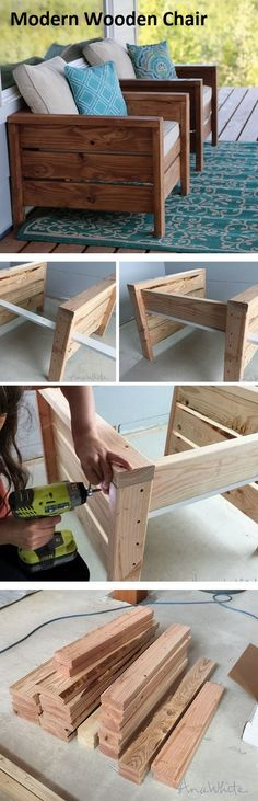 Great modern outdoor chairs have a woodsy feel to them, which makes these DIY chairs perfect. All you need is 2x lumber and some of your trusty tools to complete the project. The chair has a box-like feel to it, which is a little strange, but this also makes it modern