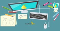Designer office workspace with tools and devices in modern flat style. Creative process, logo and graphic design, design agency. Graphic Design Books, Freelance Graphic Design, Book Design, Clipart, How To Make Logo, Create A Logo, Leo Lionni, Handwritten Type, Stuff For Free