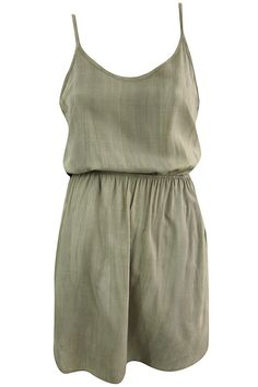 Mineral Wash Cinched Tank Dress - Olive #shoppitaya