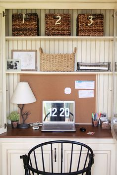 China cabinet turned into an office-i would love a space like this in my kitchen
