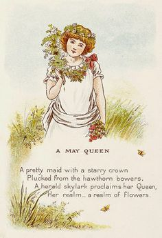 """Illustrated by Constance Haslewood. A May Queen. """"A pretty maid with a starry crown."""