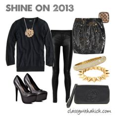New Years Eve Outfit Idea - leather, sequins, black and gold. NYE inspiration.