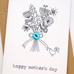 Happy mother's day button box card from Hummingbird Cards Birthday Card Drawing, Birthday Cards, Mothers Day Crafts, Happy Mothers Day, Hand Drawn Cards, Karten Diy, Button Cards, Card Companies, Father's Day