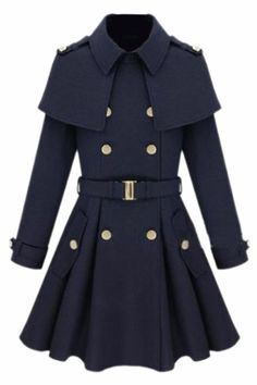 Cape-shawl Navy-blue Coat.  Reminds my of USMA a little. You know, if they wore blue and not gray.