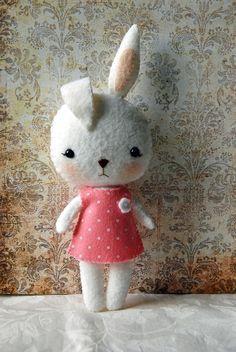 Your place to buy and sell all things handmade Felt Bunny, Bunny Rabbit, Little Doll, Last Minute Gifts, Felt Dolls, Little Books, Felt Flowers, Handmade Art, Wool Felt