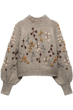 Knit Fashion, Fashion Outfits, Boho Fashion, Embroidery Fashion, Sweater Embroidery, Crochet Crop Top, Knit Crochet, Knitting Designs, Fair Isle Knitting Patterns