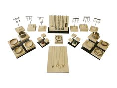 Jewelry displays in Maple and Steel