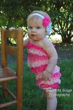 Pinkalicious Shades of Pink Lace Petti Romper  - Photography Prop - Newborn Photos. $19.00, via Etsy.