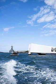Memorial building in the sea, USS Arizona Memorial, Pearl Harbor, Honolulu…