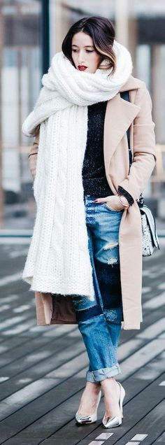 White Cable Knit Oversize Scarf