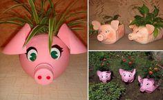 Porta piante a forma di maialini