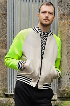 Checker and color blocking. Fur Jacket, Bomber Jacket, Neon Outfits, Sartorialist, Mens Outfitters, Passion For Fashion, Outerwear Jackets, Dapper, Parka