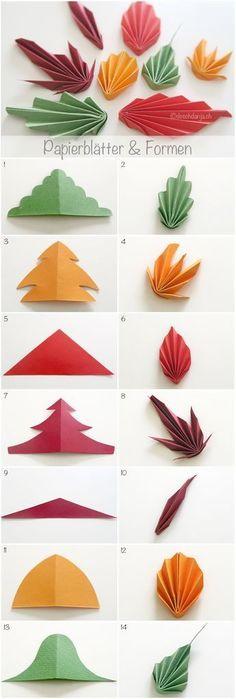 Origami Flowers 367606388330527173 - Blätter aus Papier falten Source by MoreIsNow Fall Paper Crafts, Easy Fall Crafts, Paper Crafts Origami, Origami Art, Diy Paper, Paper Crafting, Fall Diy, Kids Crafts, Leaf Crafts