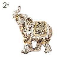 Set de 2 elefantes decorativos de resina - dorado