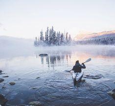 Earth Porn Kayaking in Lake Wenatchee, Washington State, USA. Photo by @kylehouck