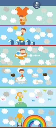 #sognatori tra le #nuvole con le #essenze profumate per bambini #nuvolì. #illustrazioni #infanzia