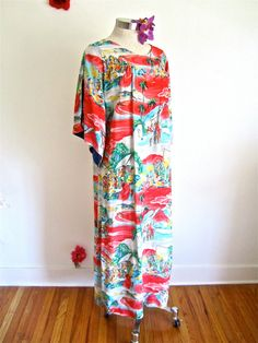 This dress SOLD vial my Etsy shop.  Sz. M-L, 40s Rayon Muu, Pake Muu Hawaii Tiki, by Iolani, Novelty Print, Long Maxi Lounge Dress