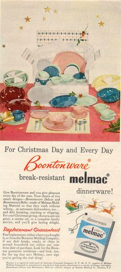 1954 Vintage Melmac Ads & Mid-Century Boonton Melmac 4-Color Set of Dishes- 55 Pieces | RARELY ...