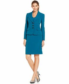 Teal skirt suit